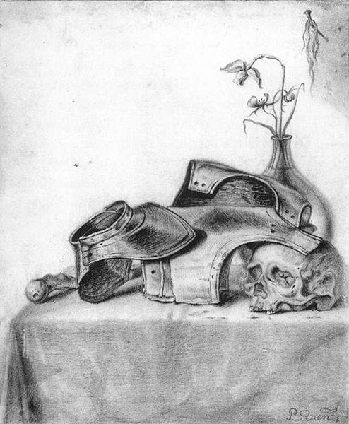 P. Steen: Vanitas Still-Life with Gorget and Cuirass. um 1640